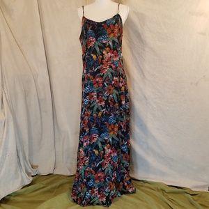 Mudd XL Parrots/Hibiscus Lace Up Back Zip Up Dress